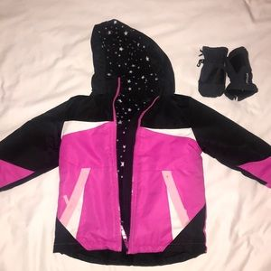 Girls 3T snow jacket and toddler snow gloves
